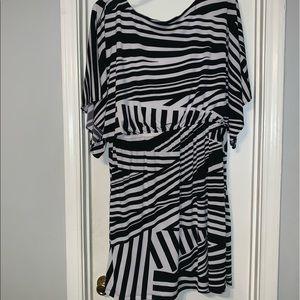 Cato 22/24 black and white midi dress
